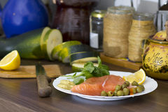 Raw salmon for cooking Royalty Free Stock Photos