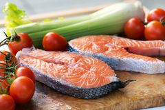 Raw salmon cutlet steaks Stock Images