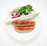 Raw Salmon Dish Royalty Free Stock Photography