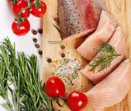 Raw salmon filet Stock Images