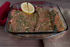 Raw Salmon Filet with Lemon and Greens,  Ready to Grill Stock Photos