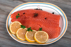 Raw Salmon Filet with Lemon. Stock Image