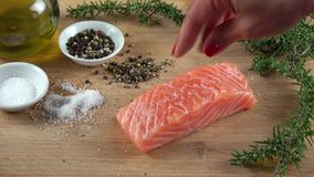 Raw Salmon Filet. On a cutting board seasoned with salt and pepper
