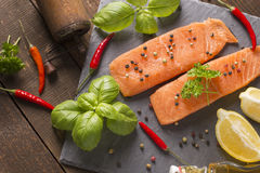 Raw salmon filet Royalty Free Stock Photography