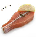 Raw Salmon Fillet. With Lemon And Spices Stock Photo