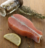 Raw Salmon Fillet. With Lemon And Spices Royalty Free Stock Photography