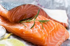 Raw Salmon Fillet with Aromatic Herbs and Spices. Fresh Raw Salmon Fillet with Aromatic Herbs and Spices on White Paper Stock Photography