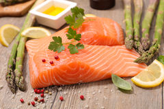 Raw salmon fillet. With asparagus Royalty Free Stock Photo