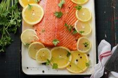 Raw salmon fillet on baking dish Stock Image