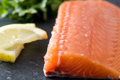 Raw salmon fillet on black slate. Healthy raw salmon fillet on black slate Royalty Free Stock Photos