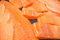 Raw salmon fillet. Close up of fresh Raw salmon fillet on cooking table Stock Photography