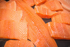 Raw salmon fillet. Close up of fresh Raw salmon fillet on cooking table Stock Photos