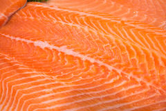 Raw salmon fillet. Close up of fresh Raw salmon fillet on cooking table Stock Photo