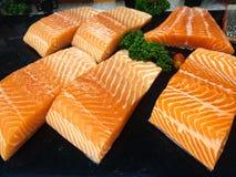 Raw salmon fillet. Fresh fish, Salmon sachimi royalty free stock photos