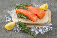 Raw salmon fillet with fresh rosemary herb, lemon and ice Stock Photo