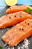 Raw salmon fillet with herbs and spices. Ready for baking on stone background Royalty Free Stock Photography