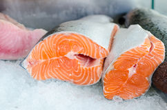 Raw salmon fillet on ice. Of market desk Royalty Free Stock Images