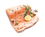 Raw salmon fillet and ingredients for marinade. On white background Royalty Free Stock Image
