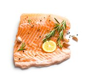 Raw salmon fillet and ingredients for marinade. On white background Royalty Free Stock Photos