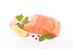 Raw salmon fillet. Isolated on white Stock Image