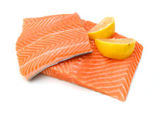 Raw salmon fillet. Isolated on white background Royalty Free Stock Photography