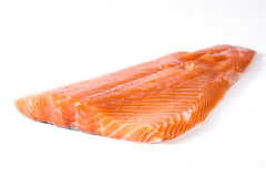 Raw salmon fillet isolated. On white background Stock Images