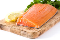 Raw salmon fillet isolated. On white background Royalty Free Stock Images