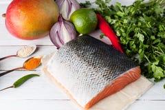 Raw salmon fillet, mango, lime, onion, jalapeno, spices Stock Photo