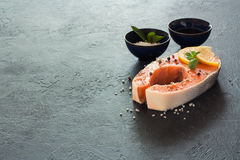 Raw salmon fillet with peppers and sea salt. Over dark stone background. Copy space Stock Images