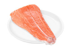 Raw salmon fillet on plate. Isolated on a white background Stock Photos