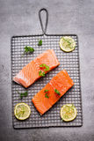 Raw Salmon fillet portion with lemon and herbs Stock Image