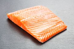 Raw salmon fillet. On gray slate background Royalty Free Stock Photo