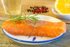 Raw salmon fillet Royalty Free Stock Photography