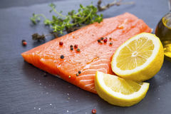 Raw salmon fillet with spices and lemon Royalty Free Stock Images