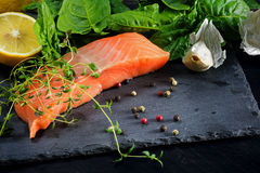 Raw salmon fillet with thyme, garlic, lemon and spices on a dark. Preparing raw salmon fillet with thyme, garlic, lemon and spices on a dark slate plate Royalty Free Stock Image