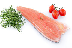 Raw salmon fillet on a white background Stock Images