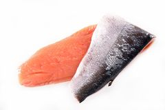 Raw salmon fillet. On white background Royalty Free Stock Photography