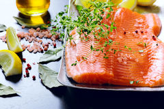 Raw salmon fillets Royalty Free Stock Image