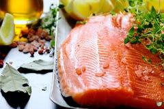 Raw salmon fillets Royalty Free Stock Photos