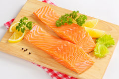 Raw salmon fillets Royalty Free Stock Photography
