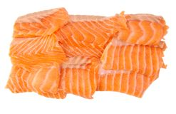 Raw salmon fillets isolated on a white background. Raw salmon fillets isolated on white background Royalty Free Stock Photo