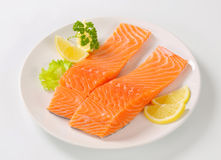 Raw salmon fillets Stock Photography