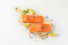 Raw salmon fillets Royalty Free Stock Images