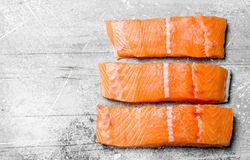 Raw salmon fish filet royalty free stock photos