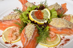 Raw salmon fish fillet. With fresh herbs and lemon Stock Images