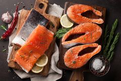 Raw salmon fish fillet Stock Photo