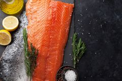 Raw salmon fish fillet Stock Images