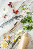 Raw salmon fish in ice and vegetables. On white table. Baking paper Stock Image