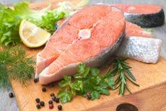 Raw salmon fish steaks Royalty Free Stock Image
