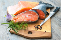 Raw salmon fish steaks Stock Images